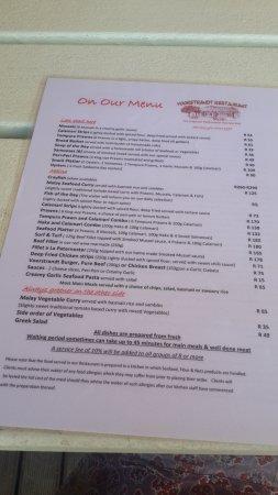 Paternoster, Republika Południowej Afryki: menu