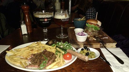 Lowlander: Steak Frites and Vension Burger plus beers