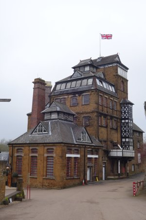 Hook Norton, UK: The brewery flying the union flag for the six nations rugby tournament.