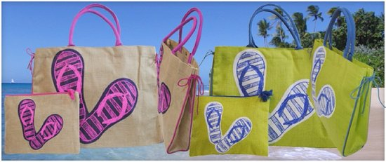 Rockley, Barbados: 'Slim-able' beach bags with zippered purses