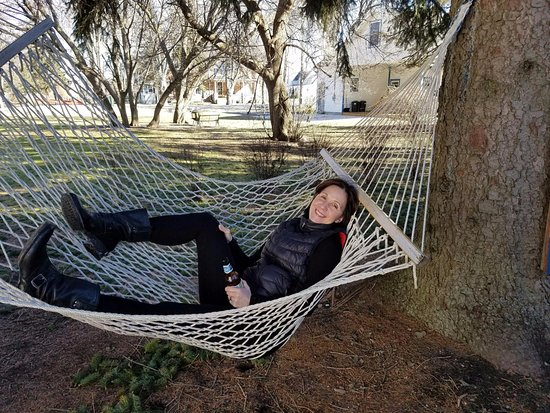 Lexington, MI: Could not resist the hammock in February!