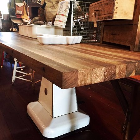 High Springs, FL: Vintage Industrial Table Base with Butcher Block Top