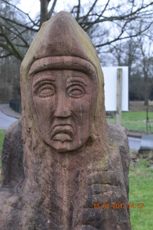 Barrow-in-Furness, UK: Detail from monk's face