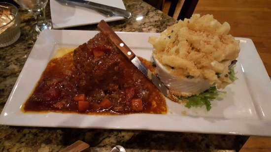 Hampden, MA: Wedge salad & short ribs w truffle mac & cheese.