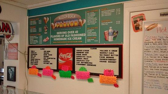 Hudson, FL: Ice Cream and Hot Dog Menu