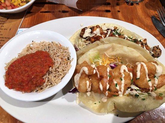 Cabo Fish Taco: Combo bbq mango and breaded shrimp tacos