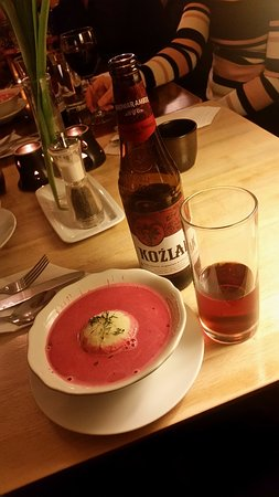 Polonia Club : This is my favorite beetroot soup with mashed potato ball on the middle :D Nice one!