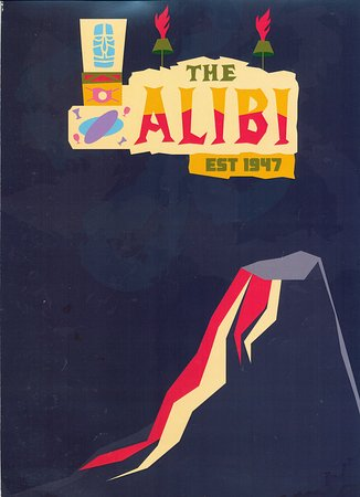 Alibi Restaurant and Lounge: Menu cover with volcano image