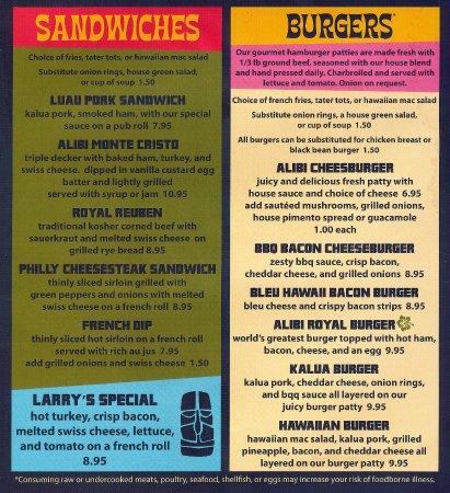 Alibi Restaurant and Lounge: Burgers on menu