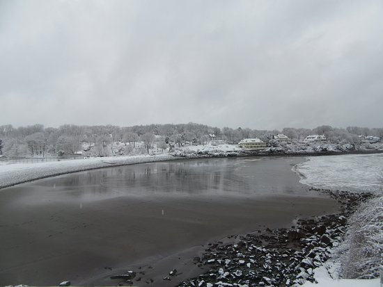 York Harbor, Μέιν: View of the beach in winter