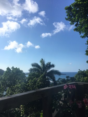 Kanopi House: Looking out from Kanopi's deck to the Caribbean Sea.