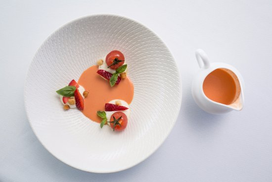 McMahons Point, Australia: Ricotta Mousse, strawberry tomato gazpacho