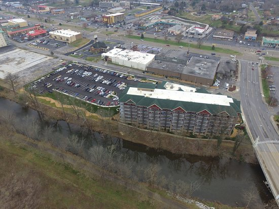 Drone View From Across The Way Looking Back Over The Hotel And The