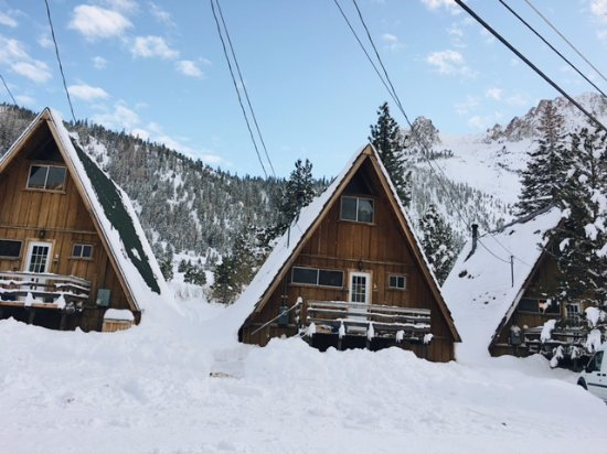 Four Seasons June Lake Cabins: A-frame cabins in the snow