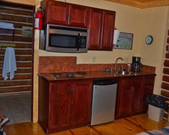 Ennis, MT: Kitchen and door to the bathroom.