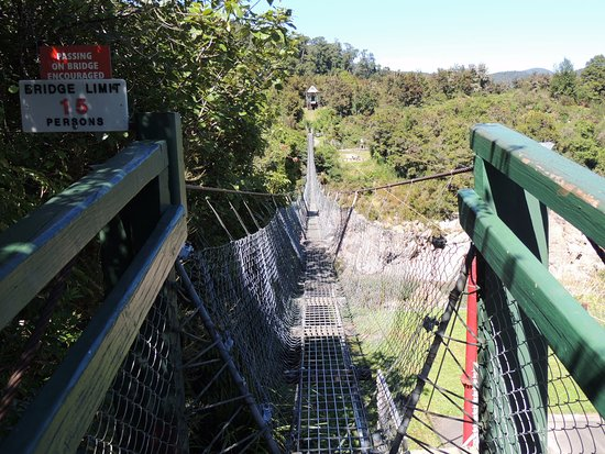 Nelson-Tasman Region, New Zealand: Start of the swingbridge .See note passing encouraged