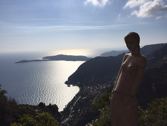 Statue at botanic gardens plus views over coast - Picture of Le ...