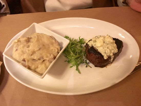 Groton, MA: Filet mignon with side of garlic masked potato - cut like butter.