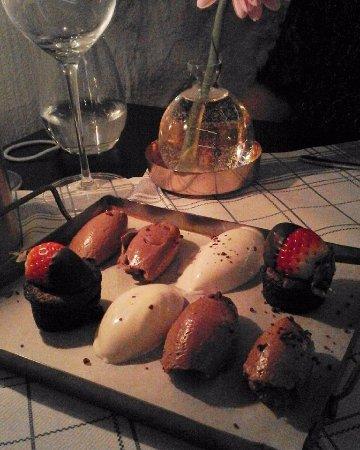Ουμέα, Σουηδία: dessert, chokladmousse, kokosglass och fondant