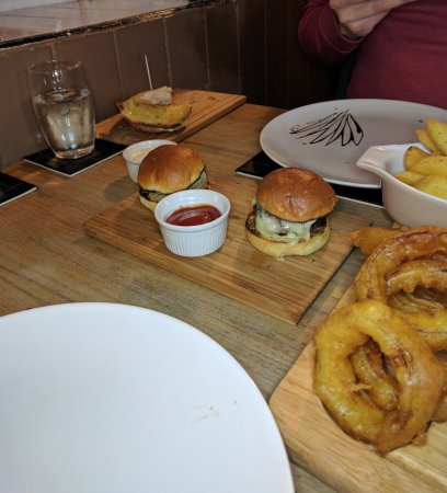 Wotton-under-Edge, UK: Mini slider burgers from the Meat Celebration Platter
