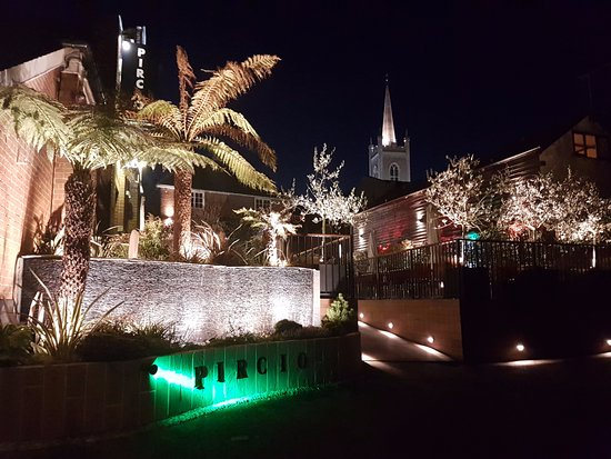 A beautiful image of Pircio Restaurant one evening with Bishops Stortford iconic church.