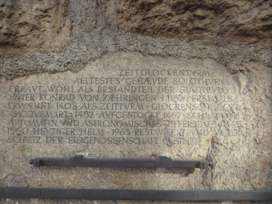 Solothurn, Switzerland: Inscription about the Tower's history