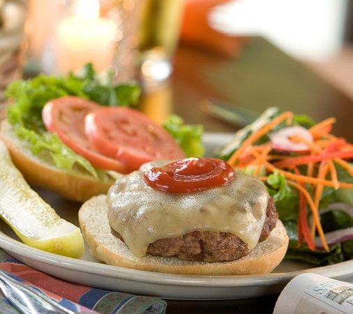 Westmore, VT: Burger at Gil's Bar & Grill