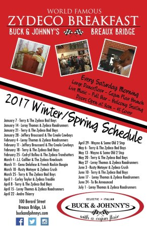 Buck and Johnny's: Zydeco Breakfast Schedule of Bands; new schedule through Dec posted 6/1