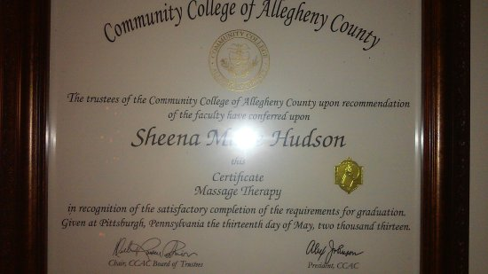 Washington, Pennsylvanie : Graduated from CCAC With A Certificate In Massage Therapy