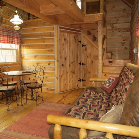 Elizabethtown, IL: Hickory Hollow log cabin living room