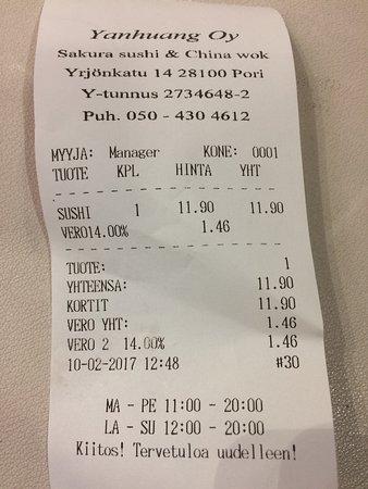 Pori, Finlandia: Sakura Sushi & China Wok   address and price