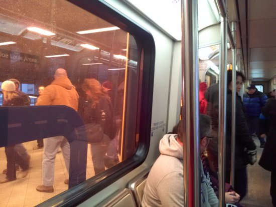 Detroit People Mover: Winter riders in Detroit