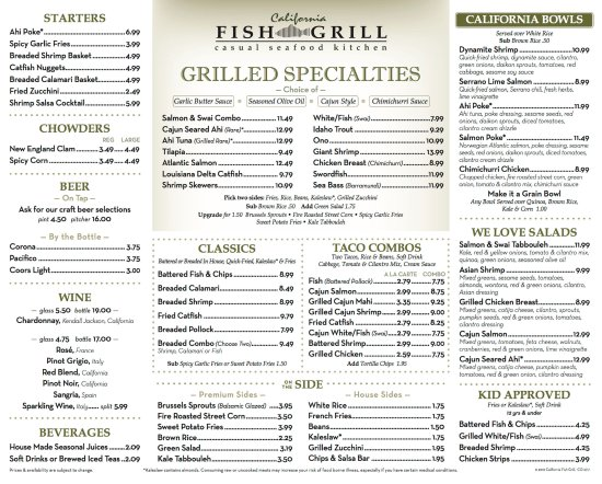 Cerritos, CA: CFG Menu