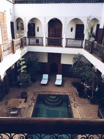 Riad Kasbah : View of pool from first floor balcony outside bedroom
