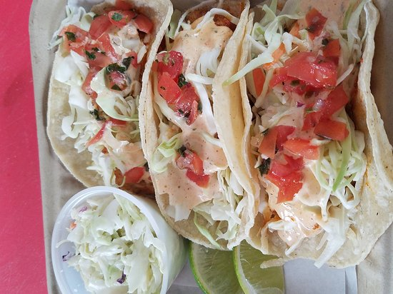 Rosewood Cafe: Yummy blackened fish tacos. Rosewood you rock. This was my to go order and it looks delicious. I