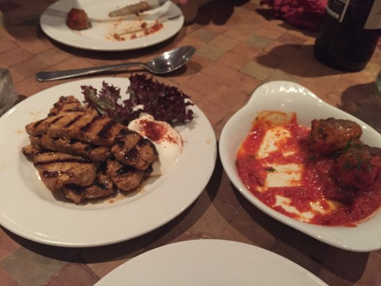 Holmfirth, UK: Pork Izgara and meatballs - only remembered to take pictures half way through eating!
