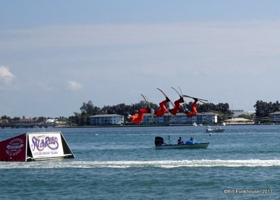 Sarasota Ski-A-Rees Water Ski Show: One of the many jumps that they did.