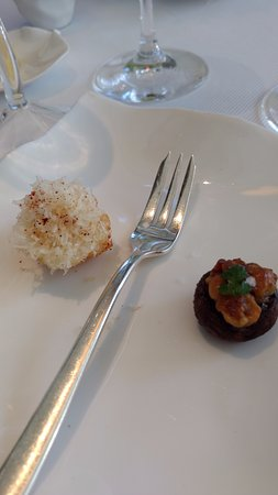 Jean Georges: 2 amuse-bouches: crimini mushroom with hazelnut, sweet-potato croquet with parmesan