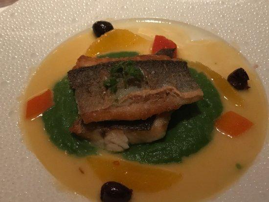 Restaurant Gary Danko: My favorite of the 5 course night: Branzini with Fennel Purée, Niçoise Olives and Saffron-Orange