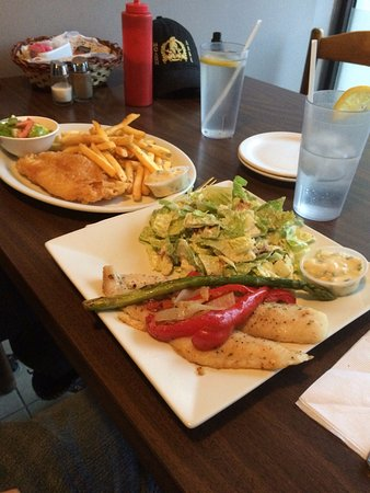 New Hamburg, Canada: Fish & chips, and grilled fish & salad.