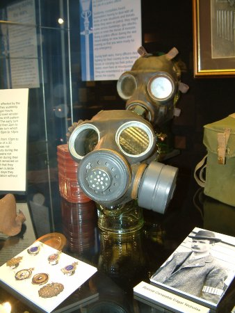 Chelmsford, UK: A gas mask and other objects on display from World War 2