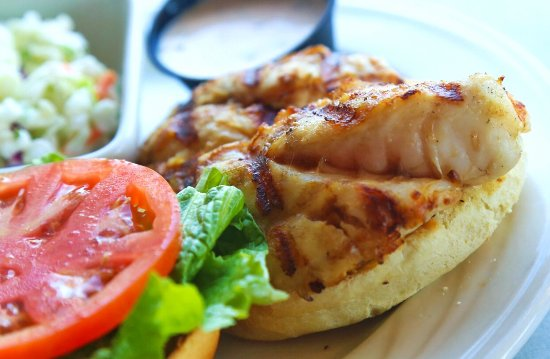 Dry Dock Waterfront Grill: Florida Fresh Grouper Sandwich