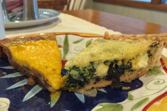 Egg Harbor, WI: Homemade quiche made with veggies from our innkeeper's harden.