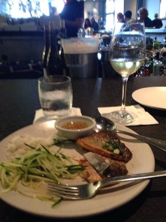 Slanted Door: Arctic Char with green mango salad, paired with a German white wine.
