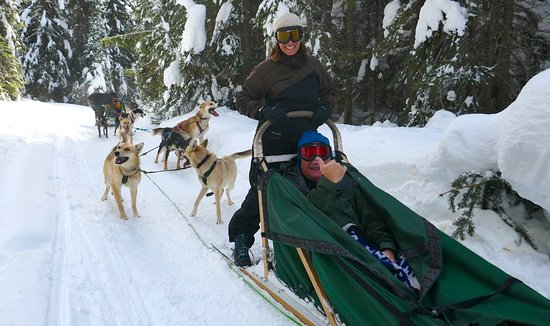 Sun Peaks, Kanada: guiding the sled ourselves with the help of Chris
