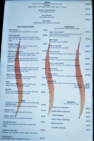 Clifton Park, Estado de Nueva York: Sample menu February 2017.