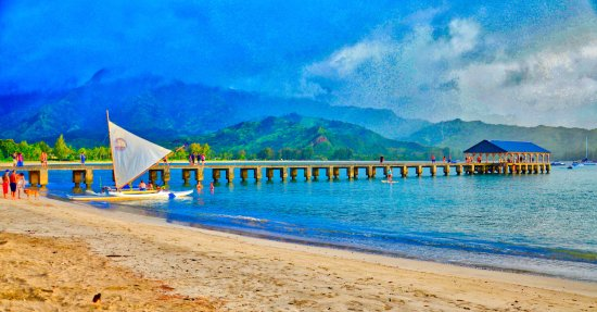 The Hanalei pier always provides a picturesque backdrop.