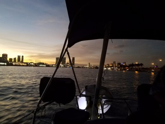 """Miami Sailing - Private Day Charters: Miami skyline view from the """"Wind Runner"""""""