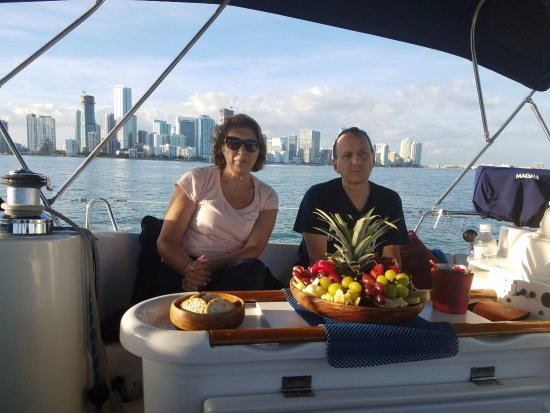 Miami Sailing - Private Day Charters: Enjoying a tasteful platter of fruits and cheeses on the Wind Runner