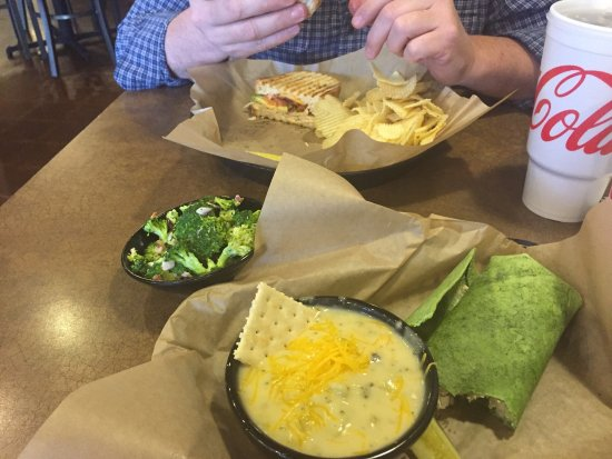 Griff's Deli: Chicken salad spinach wrap, broccoli soup, broccoli salad and T-bird panini